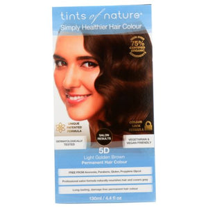 Permanent Hair Color 5D Light Golden Brown 4.4 Oz by Tints of Nature (4754115330133)