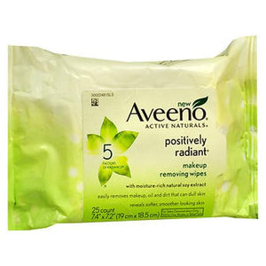 Aveeno Active Naturals Positively Radiant Makeup Removing Wipes 25 Each by Aveeno (4754152128597)