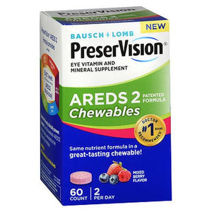 Bausch + Lomb PreserVision Areds 2 Chewables Mixed Berry Flavor 60 Tabs by Bausch And Lomb (4754182996053)