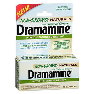 Dramamine Non-Drowsy Naturals With Ginger Motion Sickness Relief Capsules 18 Tabs by Med Tech Products (4754208456789)
