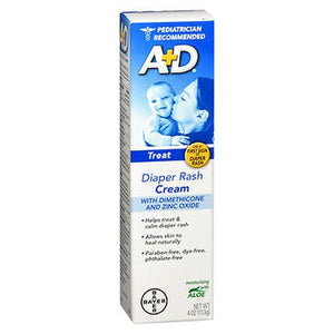 A+D Zinc Oxide Diaper Rash Cream 4 Oz by A+D (4754208686165)