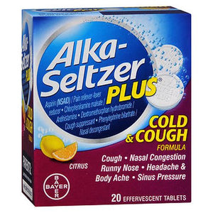 Alka-Seltzer Plus Cold & Cough Formula Effervescent Tablets Citrus 20 Tabs by Bayer (4754209144917)