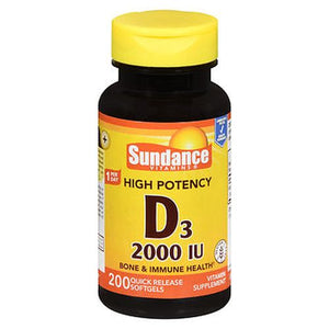Sundance High Potency D3 Quick Release Softgels 200 Caps by Sundance (4754216812629)