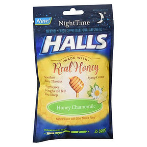 Halls NightTime Menthol Cough Suppressant Drops Honey Chamomile 25 Each by Halls (4754235392085)