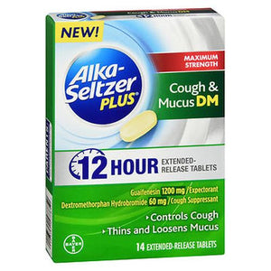 Alka-Seltzer Plus Cough & Mucus DM 12 Hour Extended-Release Tablets Maximum Strength 14 Each by Bayer (4754236244053)