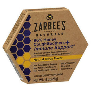 Zarbee's Naturals 96% Honey Cough Soothers + Immune Support 14 Each by Zarbees (4754237292629)