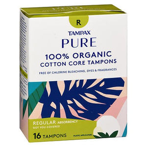 Tampax Pure 100% Organic Cotton Core Tampons Regular Absorbency 16 CARTN by Tampax (4754241126485)