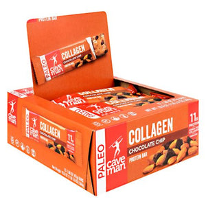 Collagen Protein Bar Chocolate Chip 12 Count by Caveman Foods
