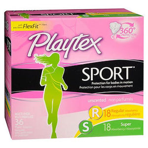 Playtex Sport Tampons with Plastic Applicators Unscented Multi-Pack 36 Each by Playtex (4754150719573)