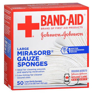 BAND-AID Mirasorb Gauze Sponges Large 4 inch x 4 inch 50 Each by Aveeno (4754153537621)