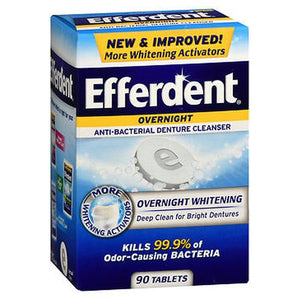 Efferdent Overnight Whitening Anti-Bacterial 90 Tabs by Med Tech Products (4754165727317)