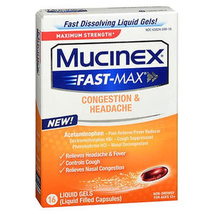 Mucinex Fast-Max Congestion & Headache Liquid Gels 16 Caps by Airborne (4754186895445)