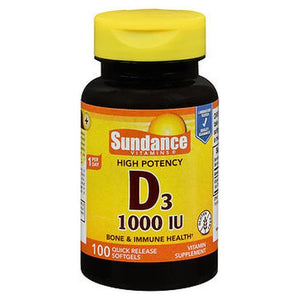 Sundance High Potency Vitamin D3 Quick Release Softgels 100 Tabs by Sundance (4754196824149)