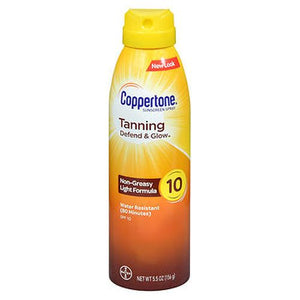 Coppertone Tanning Defend & Glow Sunscreen Spray SPF 10 5.5 Oz by Coppertone (4754222678101)