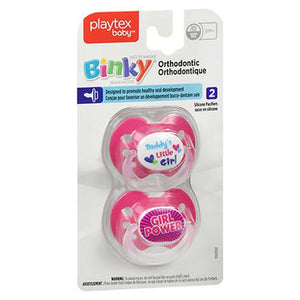 Playtex Binky Orthodontic Silicone Pacifiers 2 Each by Playtex (4754229526613)