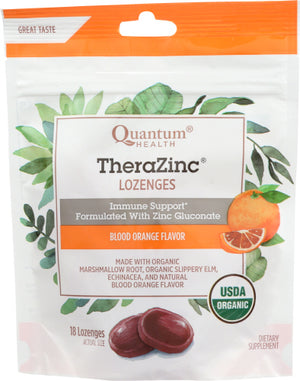 TheraZinc Organic Bagged Lozenges Blood Orange 18 Count by Quantum Health (4753963024469)
