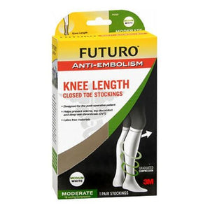 Futuro Anti-Embolism Knee Length Closed Toe Stockings White Moderate Medium each by 3M (4753943560277)