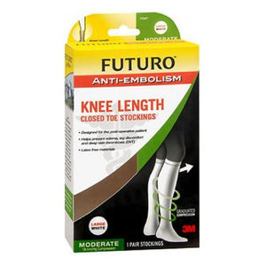 Futuro Anti-Embolism Knee Length Closed Toe Stockings White Moderate Large each by 3M (4753944019029)