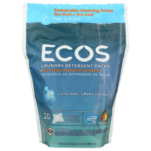 Ecos Laundry Detergent Packs Free & Clear 17.98 Oz by Earth Friendly (4754283724885)