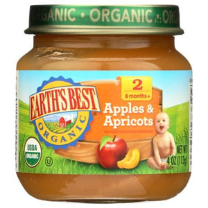 Organic Baby Food Stage 2 Apples & Apricots 4 Oz by Earth's Best  (4754302042197)