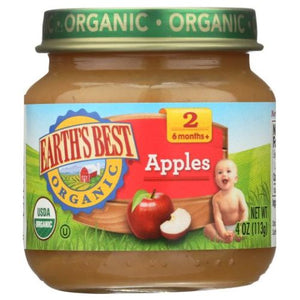 Organic Baby Food Stage 2 Apple 4 Oz (Case of 10) by Earth's Best  (4754302074965)