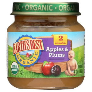 Organic Baby Food Stage 2 Apples & Plums 4 Oz(Case of 10) by Earth's Best  (4754302107733)