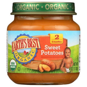Oragnic Baby Food Stage 2 Sweet Potatoes 4 Oz(Case of 10) by Earth's Best  (4754302173269)