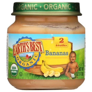 Organic Baby Food Stage 2 Banana 4 Oz(Case of 10) by Earth's Best  (4754302271573)