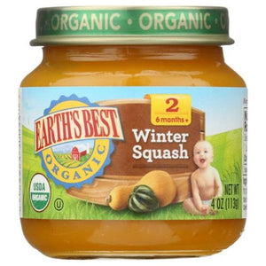 Organic Baby Food Stage 2 Winter Squash 4 Oz by Earth's Best  (4754302304341)