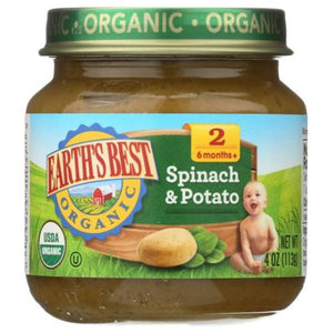 Organic Spinach & Potatoes Baby Food 4 Oz by Earth's Best  (4754302369877)