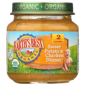 Organic Baby Food Stage 2 Sweet Potato & Chicken Dinner 4 Oz(Case of 10) by Earth's Best  (4754302435413)