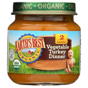 Organic Baby Food Stage 2 Vegetable Turkey Dinner 4 Oz by Earth's Best  (4754302468181)