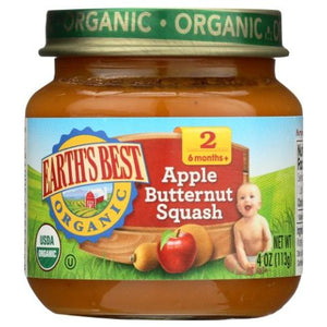 Organic Baby Food Stage 2 Apple & Peanut Butter Squash 4 Oz by Earth's Best  (4754302500949)