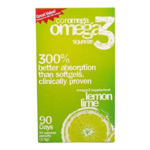 Omega 3 Squeeze Lemon Lime 90 Packets by Coromega (4754096160853)