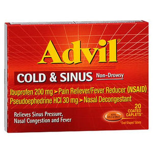 Advil Cold and Sinus Coated Caplets 20 tabs by Advil (4753944248405)