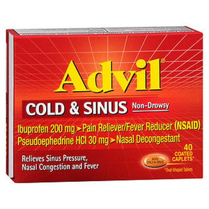 Advil Cold and Sinus Coated Caplets 40 TABS by Advil (4753945460821)