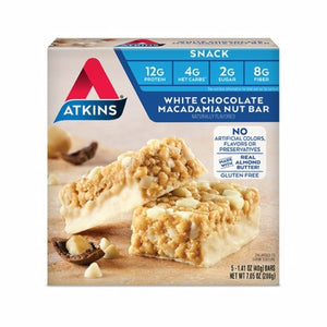 White Choc Macadamia Nut Snack Bar 5 Count by Atkins (4754065981525)