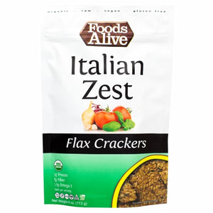 Italian Zest Flax Crackers 4 Oz by Foods Alive (4754083709013)