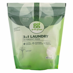 3 in 1 Laundry Detergent Pods Vetiver 60 Pods by Grab Green (4754097963093)