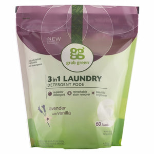 3 in 1 Laundry Detergent Pods Lavender Vanilla 60 Loads by Grab Green (4754097995861)