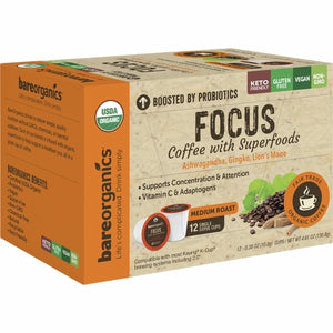 Focus Coffee K-Cups 12 Count by Bare Organics (4754103566421)