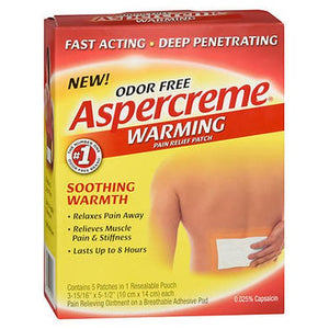 Aspercreme  Warming Pain Relieving Patches 5 Each by Aspercreme (4754256035925)