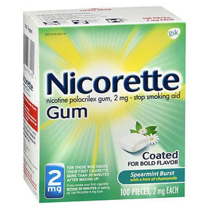 Nicorette Gum Spearmint Burst with a Hint of Chamomile 100 Each by Nicorette (4754310004821)