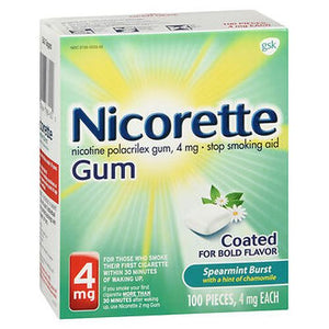 Nicorette Stop Smoking Aid Gum Spearmint Burst with a Hint of Chamomile 100 Each by Nicorette (4754310135893)