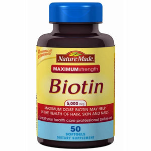 Biotin Max Strength 50 Softgels by Nature Made (4754325798997)