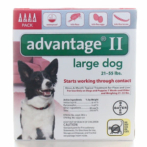 Advantage II Topical Flea Treatment for Dogs & Puppies Upto 21-55 lbs 4 Count by Bayer (4754329829461)