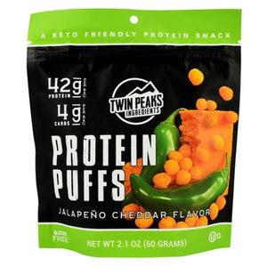 Protein Puffs Jalepeno Cheddar 12 Each by Twin Peaks Ingredients (4754331107413)