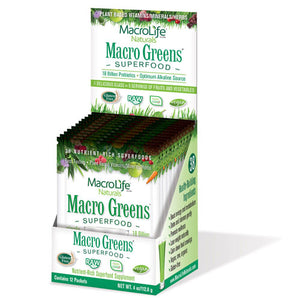 Macro Greens Nutrient-Rich Super Food Supplement 12 packets by Macrolife Naturals