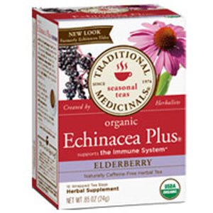 Organic Echinacea Plus Elderberry Tea Elder 16 Bags by Traditional Medicinals Teas