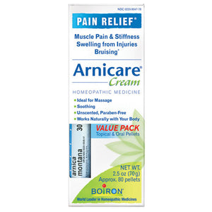 Arnicare Cream Value Pack with Montana Blue Tube 2.5 oz+ 30c Pellets by Boiron (2587262124117)